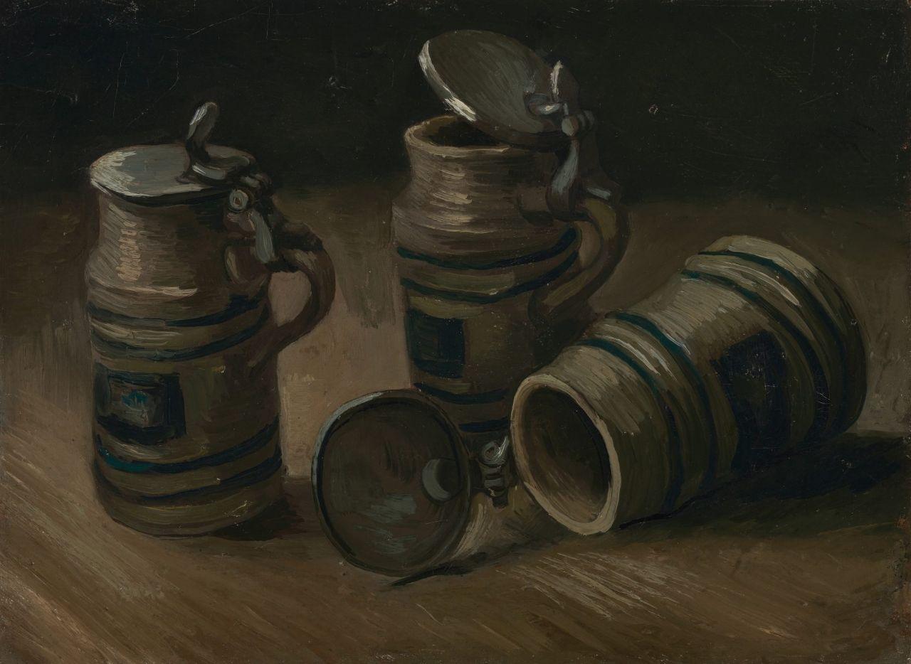 Oktoberfest Paintings,  Vincent van Gogh, Beer Tankards, 1885, Van Gogh Museum, Amsterdam, Netherlands.